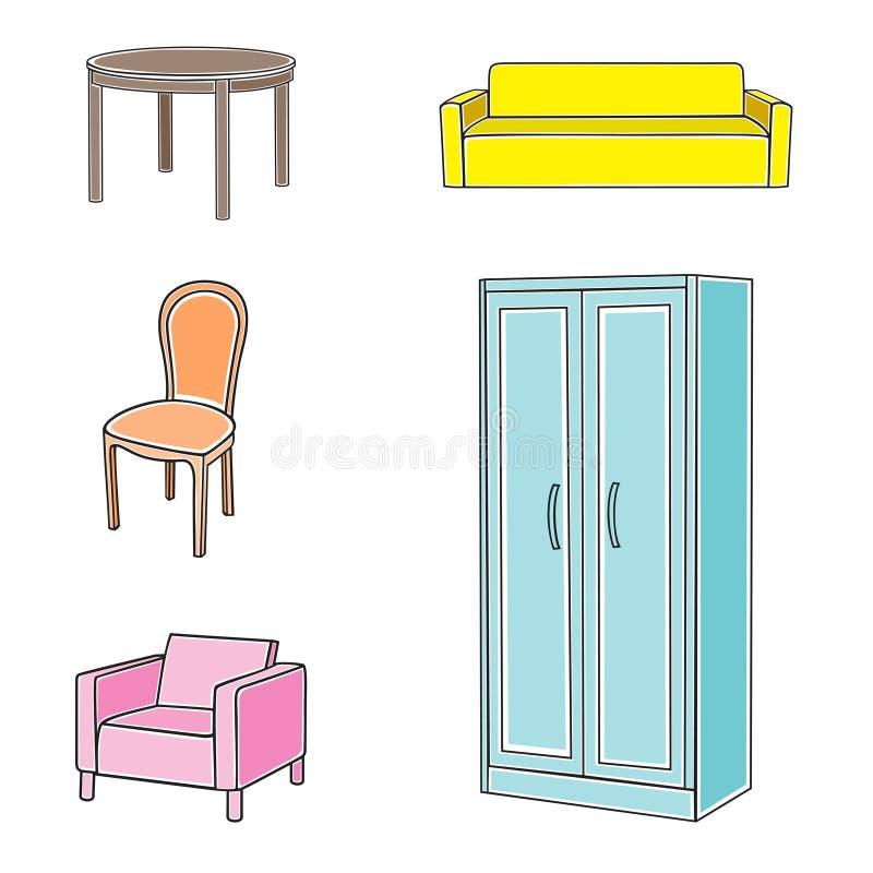 家具图标集 库存例证