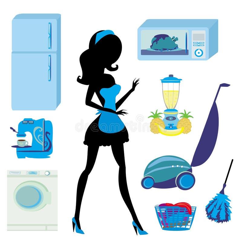 家具在厨房和清洁-集合里 皇族释放例证