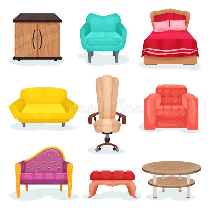 家具汇集、室内设计元素办公室的或家庭传染媒介例证在白色背景 皇族释放例证