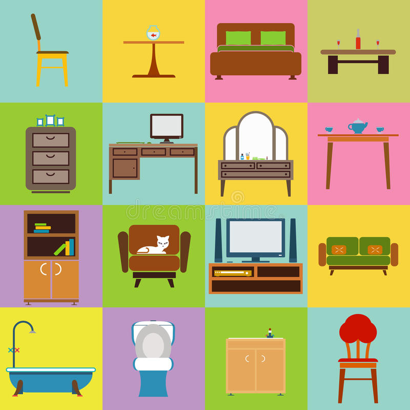 家具象被设置的平的设计传染媒介例证 向量例证