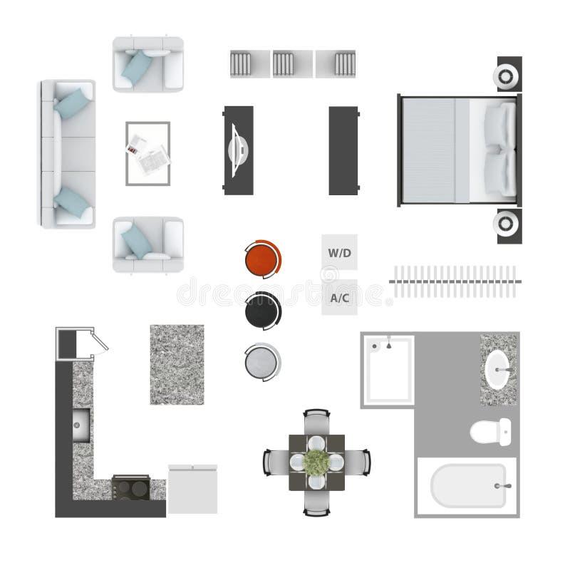 家具顶视图象 图库摄影