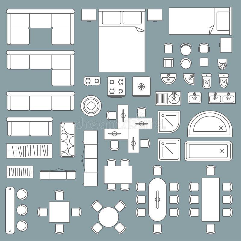 家具顶视图建筑学计划 皇族释放例证