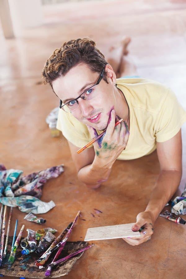 画家在工作 库存图片