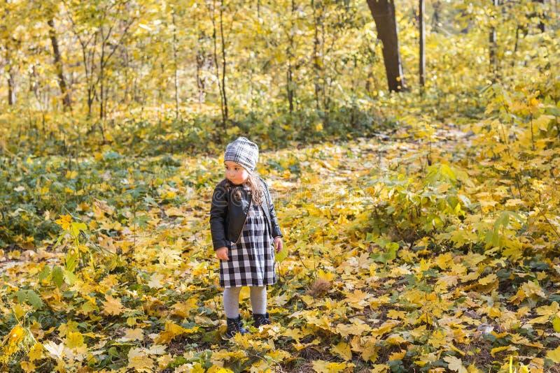 家庭、孩子和季节概念-走在秋天公园的小愉快的儿童女孩 免版税库存照片