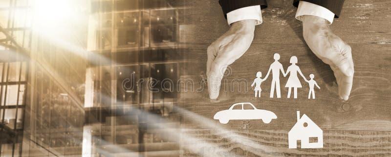 家庭、房子和汽车保险概念;多重曝光 免版税库存图片