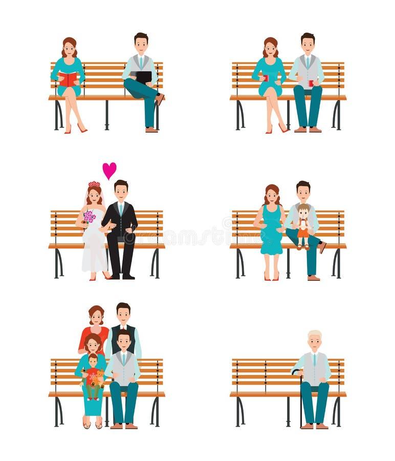 家庭世代发展随着时间的推移进行过程 向量例证