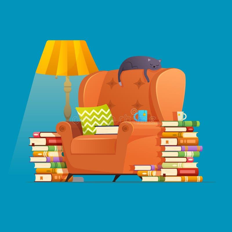 家庭书库的内部元素 例证阅读书,爱好书籍爱好者 库存例证