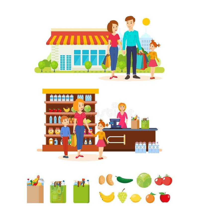 家庭买在购物中心的产品,走并且度过周日 库存例证