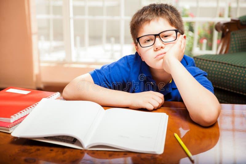 从家庭作业不耐烦的非离子活性剂 免版税库存照片