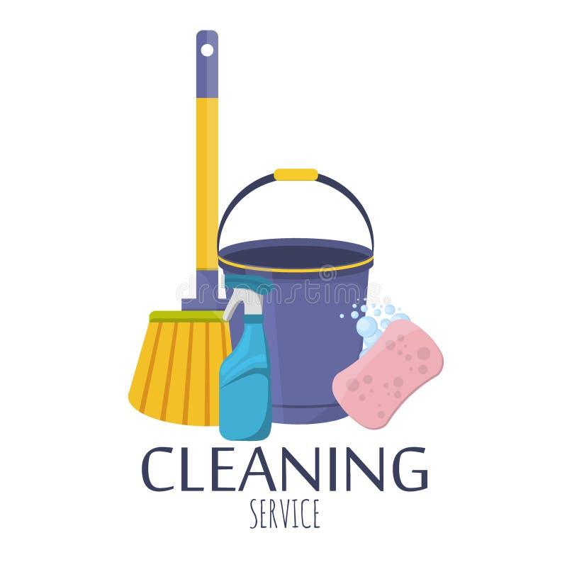家庭供应和清洗的平的象传染媒介集合 库存例证