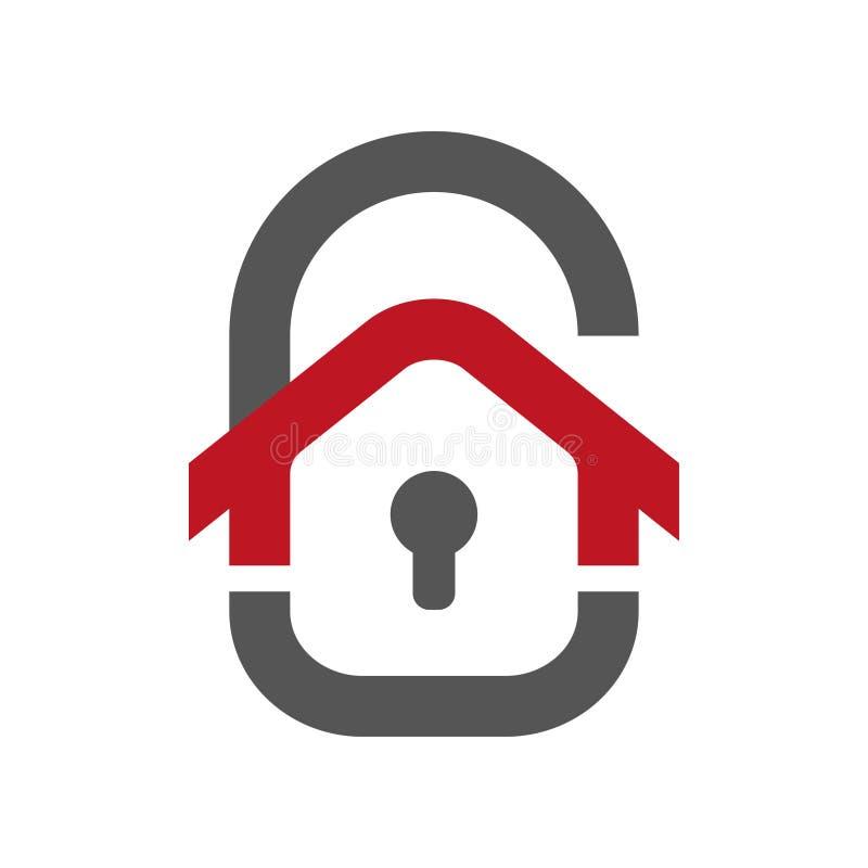 家庭保护象 以门锁的形式议院 保护在白色网络设计的传染媒介象隔绝的 皇族释放例证
