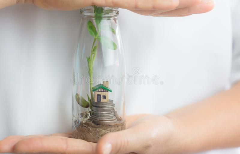 家庭保险 保存玻璃瓶子的女性手小屋有生长的硬币和的植物的在黑背景, 免版税库存图片
