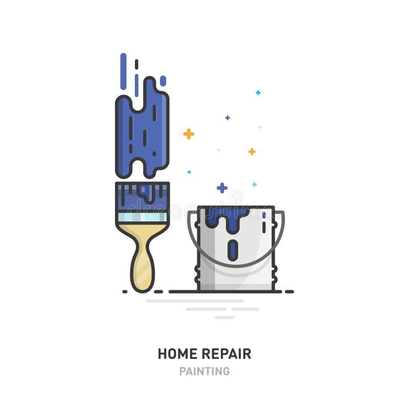 家庭修理商标 刷子、油漆和绘画 设计线路 也corel凹道例证向量 库存例证