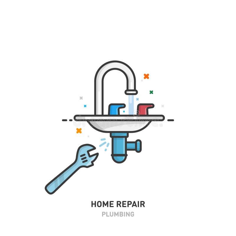 家庭修理商标 配管和水管 设计线路 也corel凹道例证向量 向量例证