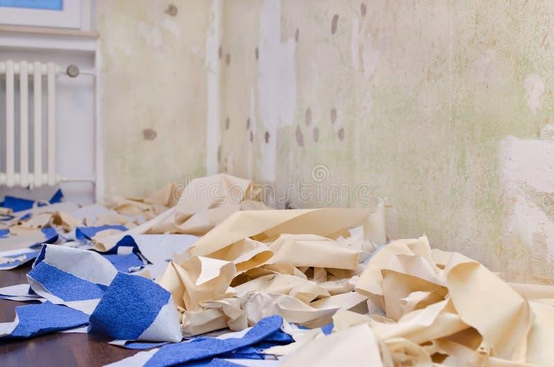 家庭修理概念,在地板上的被去除的墙纸,改造公寓,选择聚焦 库存照片