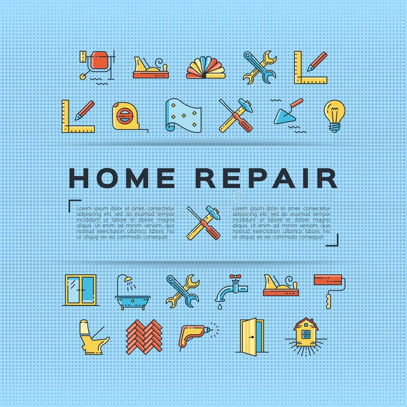 家庭修理飞行物建筑海报 议院改造稀薄的线艺术象 向量 向量例证