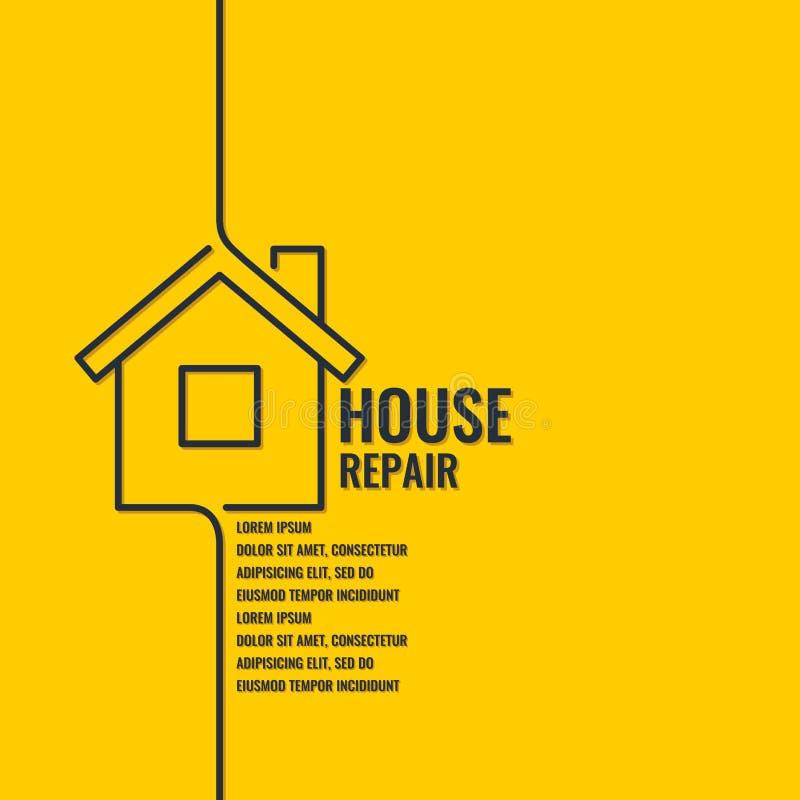 家庭修理 在一个平的线性样式的原始的海报 皇族释放例证