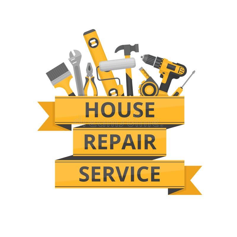 家庭修理 建筑锤子用工具加工视窗 为家庭整修的手工具 向量例证