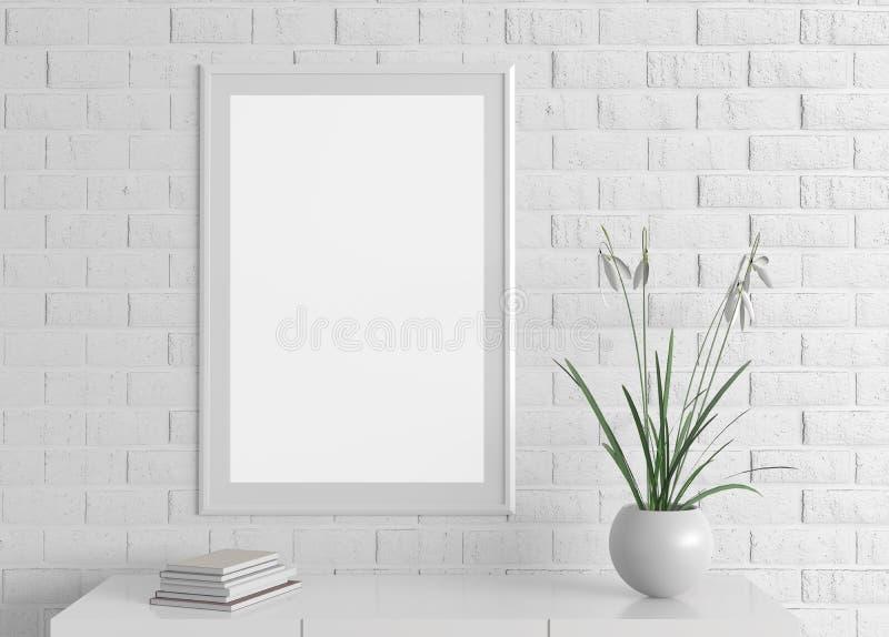 家庭内部海报框架嘲笑在白色砖墙上 3d illus 免版税库存照片
