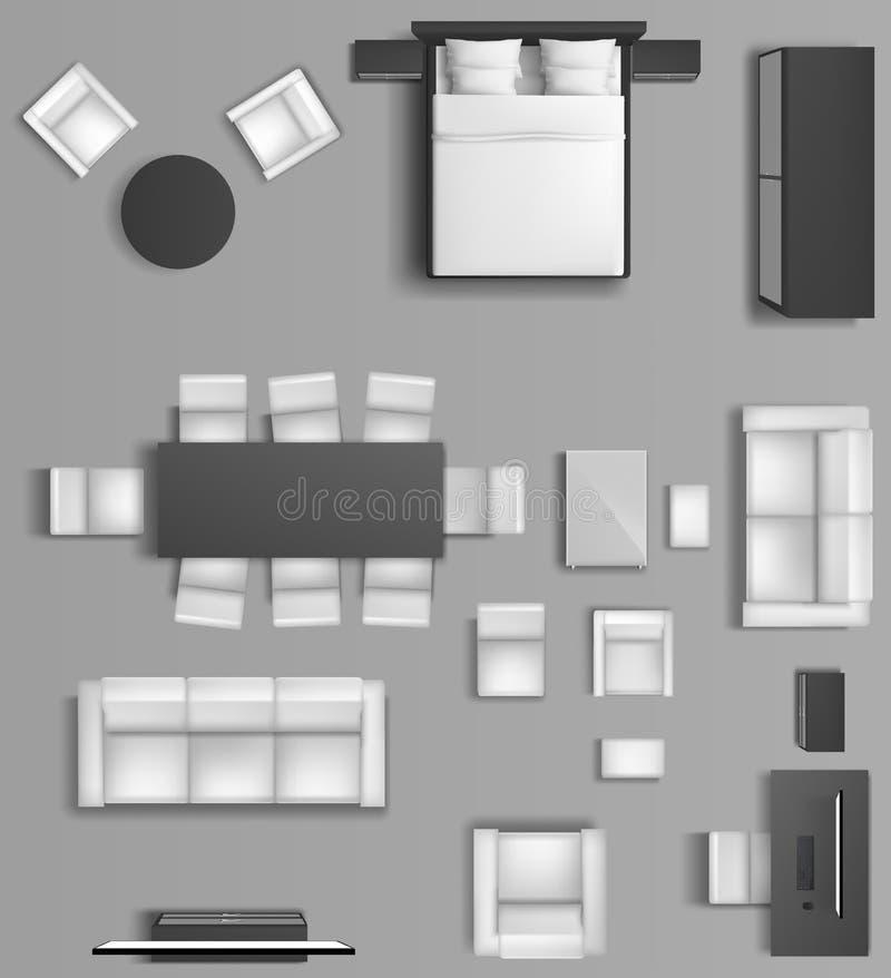 家庭内部顶视图公寓适应 库存例证