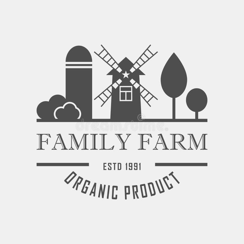 家庭农厂概念商标 与农厂风景的模板 标记为,有机和自然农产品 黑暗的略写法 皇族释放例证