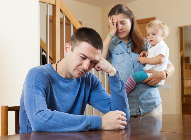 家庭冲突在家 图库摄影