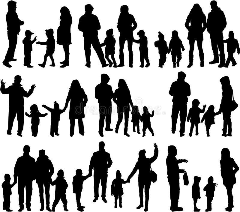 家庭剪影-大小组 向量例证