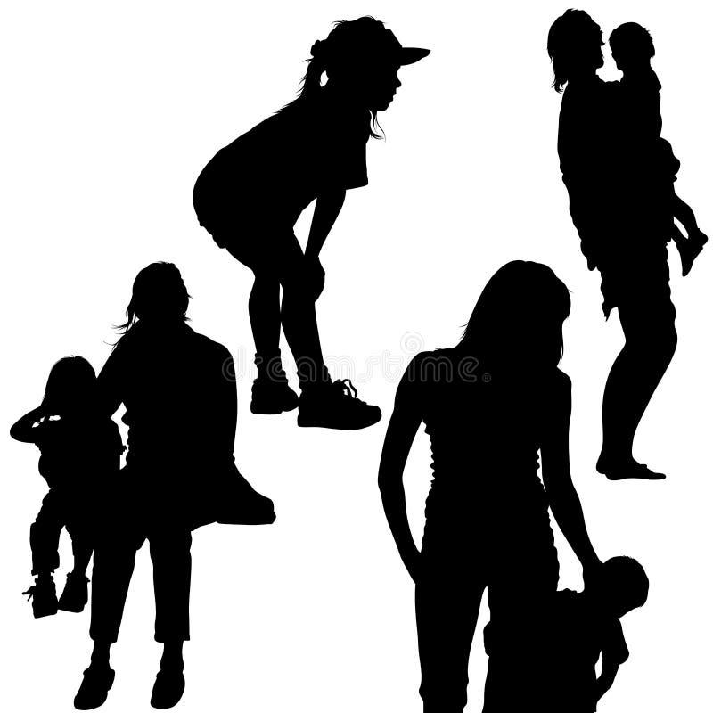 家庭剪影 向量例证