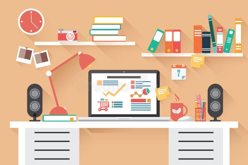 家庭办公室书桌-平的设计,长的阴影,工作书桌 皇族释放例证