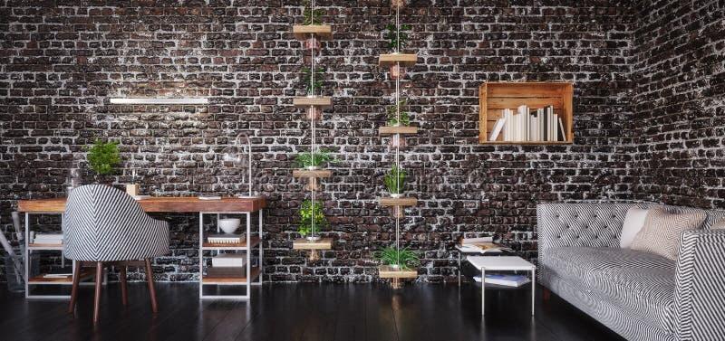 家庭办公室设计,现代工作区室 库存照片