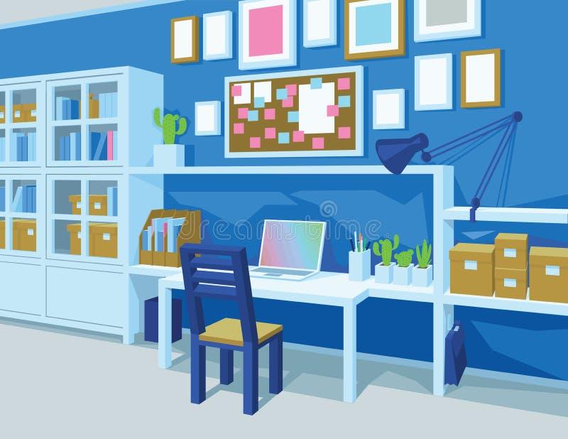 家庭办公 工作场所内部 透视图 库存例证