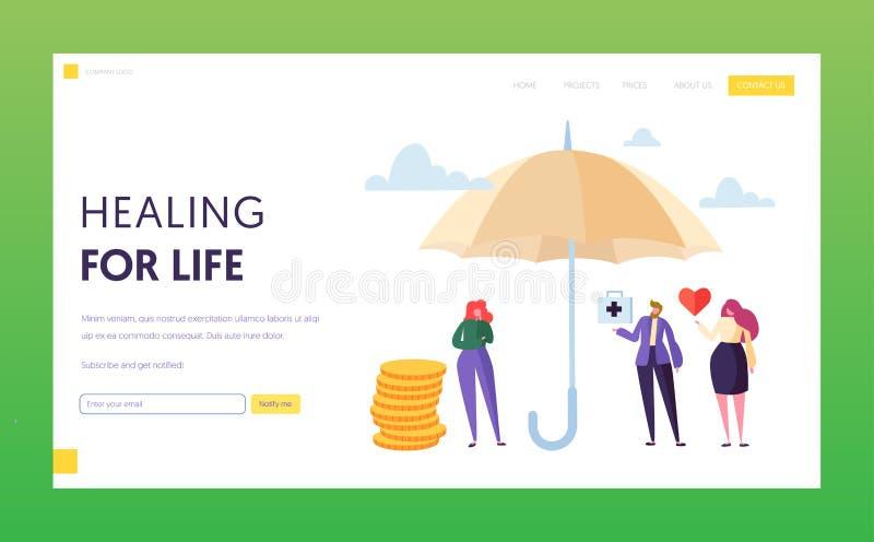 家庭医疗生命保险着陆页概念 妇女字符安全在伞下 医学和医疗保健 皇族释放例证