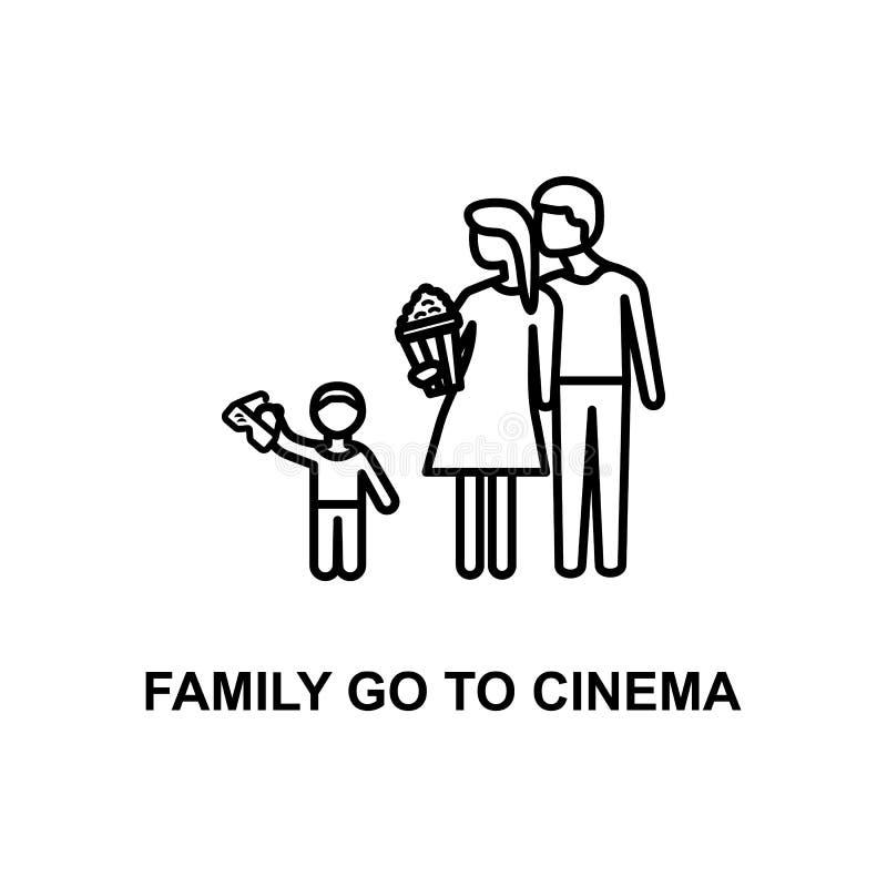 家庭去戏院象 戏院的元素流动概念和网apps的 稀薄的线家庭去戏院象可以为我们使用 库存例证