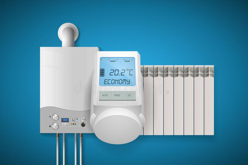 家庭取暖系统概念-房子设施 向量例证