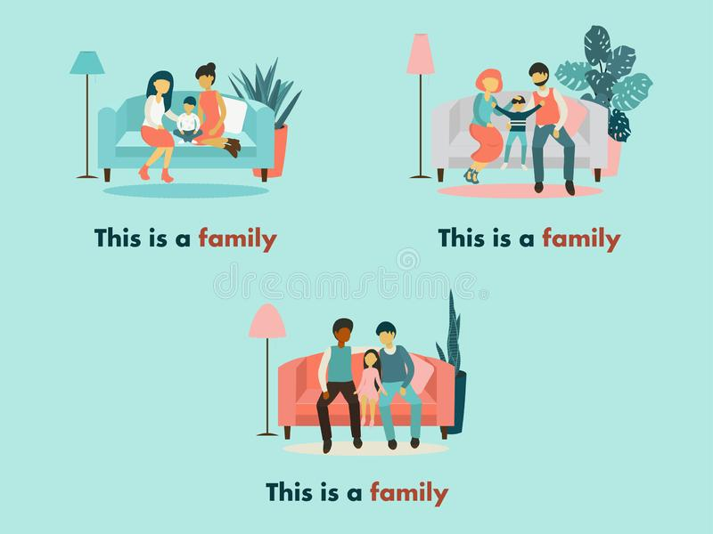家庭变异这是家庭 向量例证