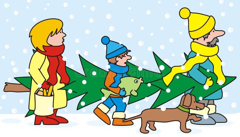 家庭和圣诞树 免版税库存图片