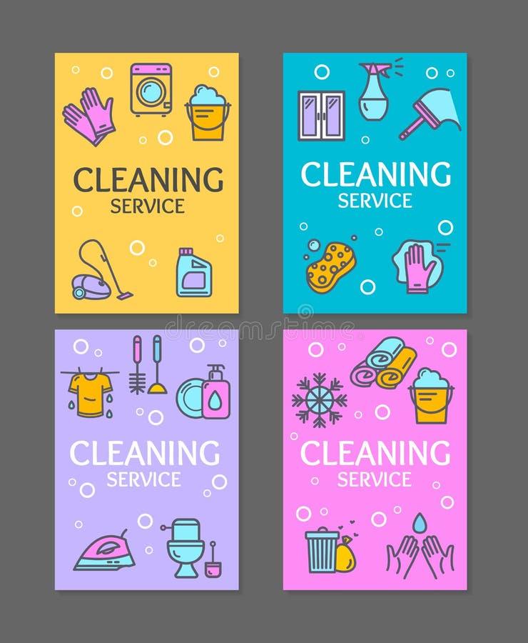 家庭和清洁工具飞行物横幅海报卡集 向量 皇族释放例证