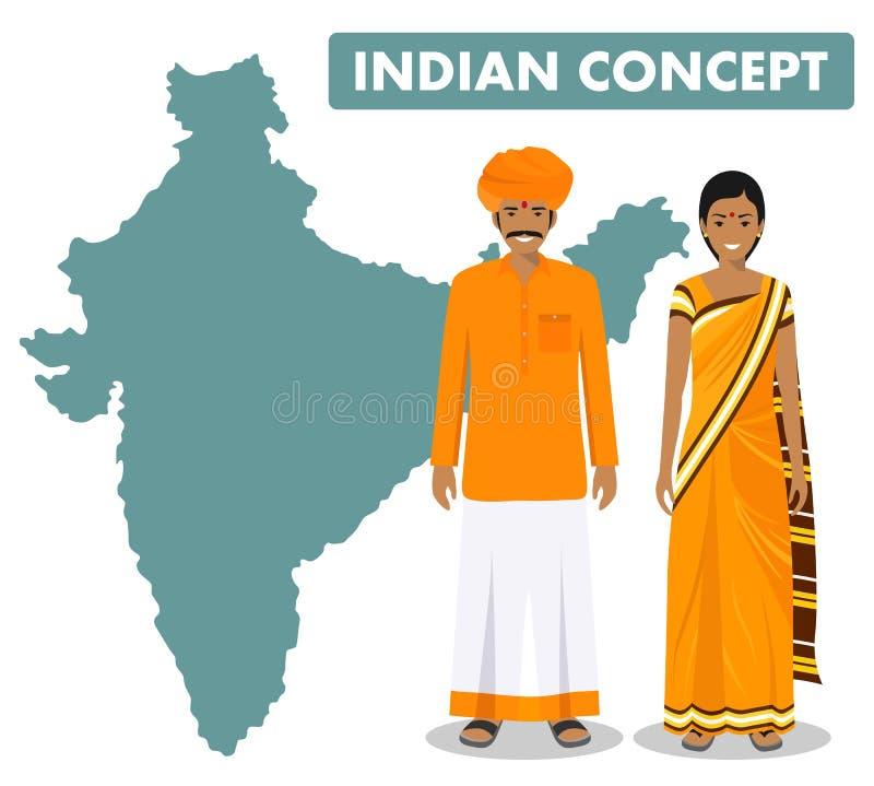 家庭和社会概念 一起站立印度男人和妇女另外传统国民的设置夫妇 皇族释放例证