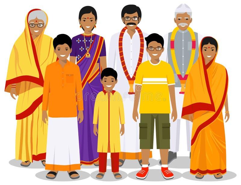 家庭和社会概念 在不同的年龄的印度人世代 设置传统全国衣裳的人 库存例证