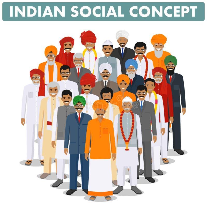 家庭和社会概念 年轻一起站立在不同传统的小组,成人和资深印度人民 皇族释放例证
