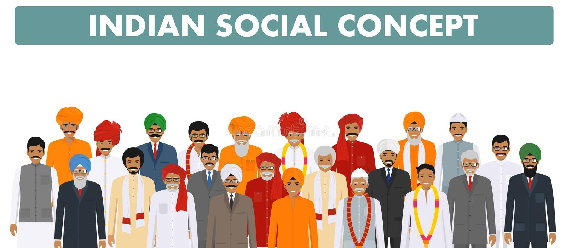 家庭和社会概念 编组一起站立用在白色backgr的不同的传统衣裳的年轻和资深印地安人民 皇族释放例证