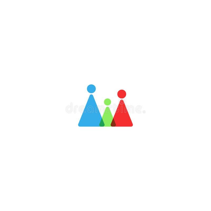 家庭商标大模型、剪影一起重叠三角形状的母亲、父亲和孩子 等高人的小组友谊 库存例证