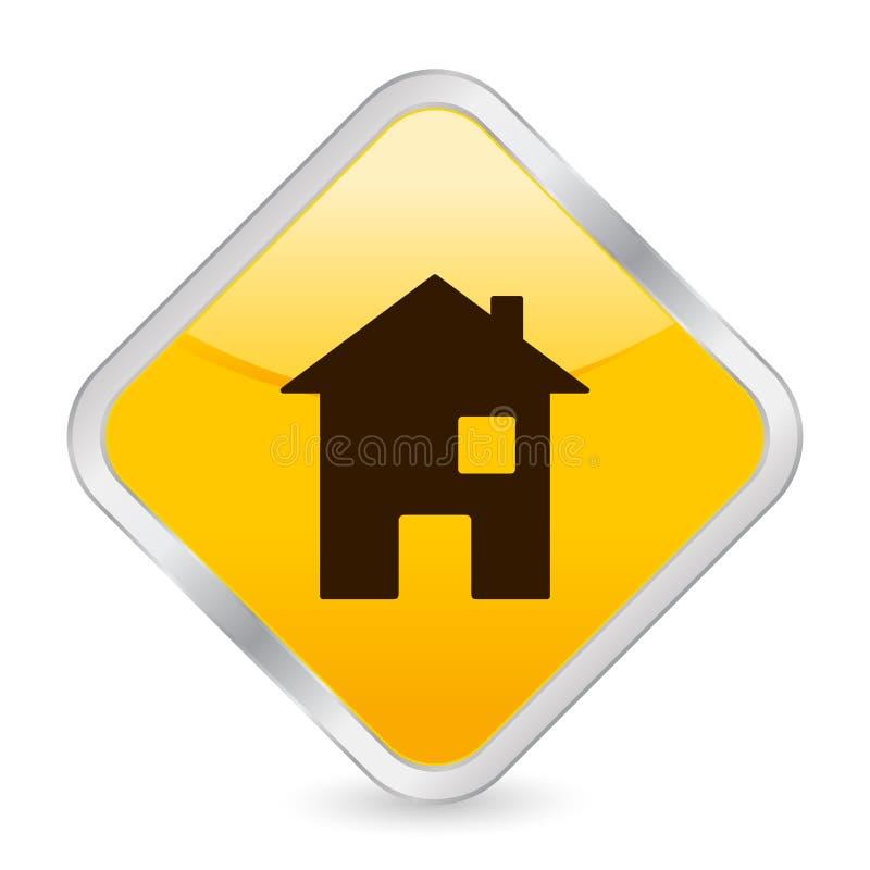 家庭图标正方形黄色 皇族释放例证