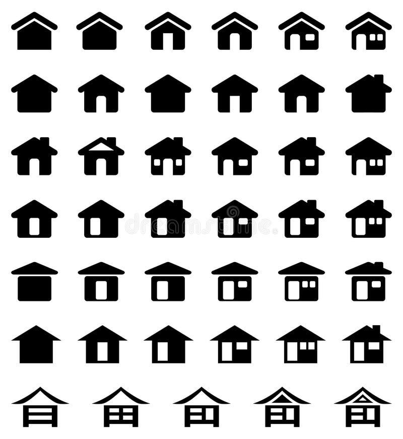 家庭图标集 库存例证