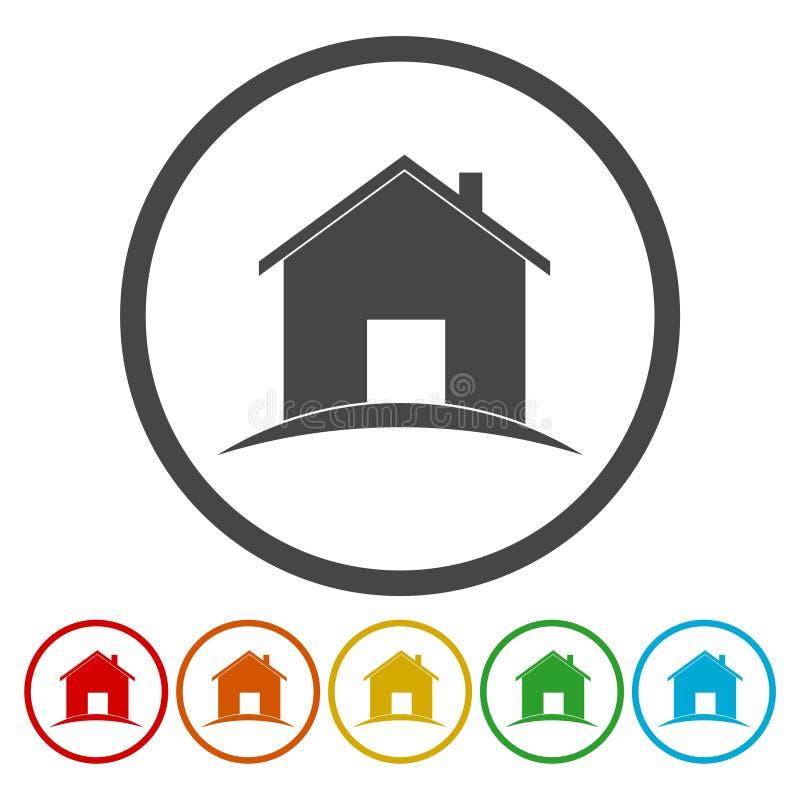 家庭图标 房屋建设标志 抽象结构上构成庄园实际符号 库存例证