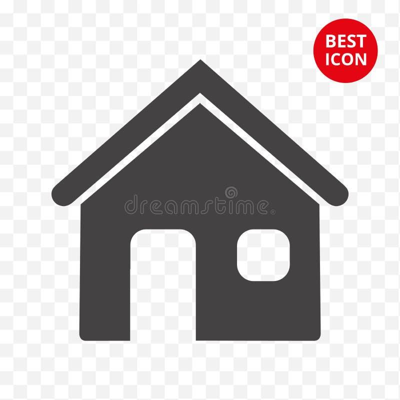 家庭图标 议院传染媒介商标 简单的平的样式 最小的设计观念 对流动应用内部家具 库存例证