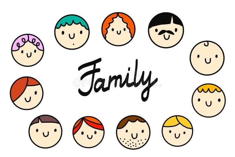 家庭圆的头例证商标和字法在白色字体 向量例证