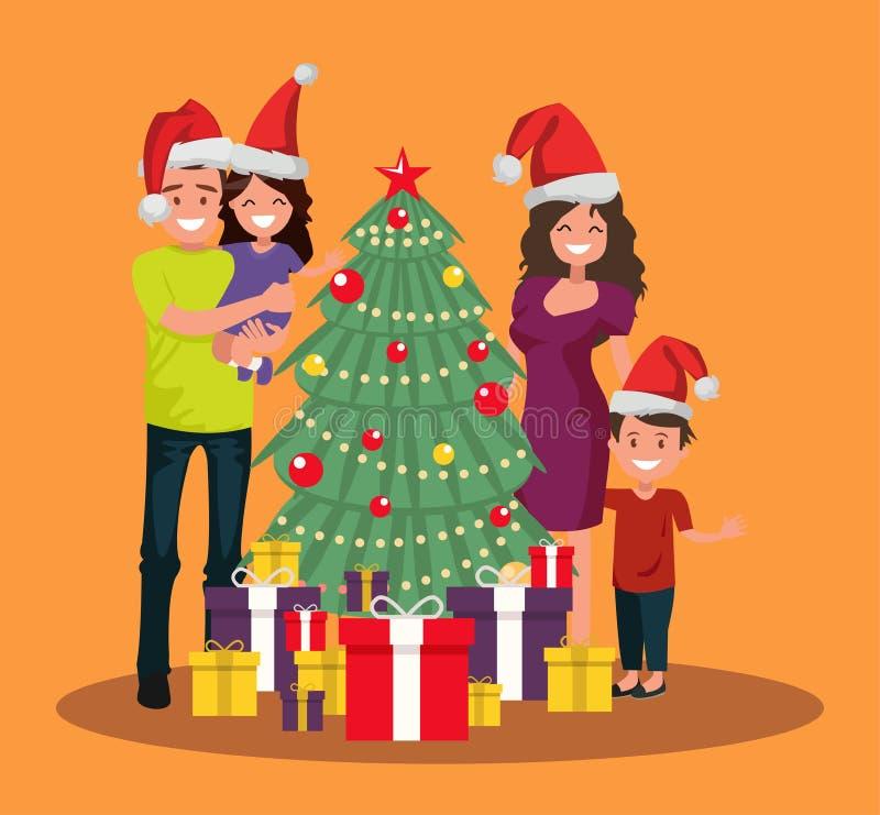 家庭在与礼物的圣诞树附近站立 向量例证
