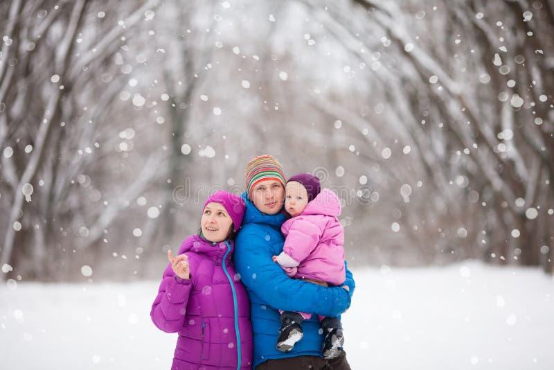 家庭在冬天森林里 免版税库存照片