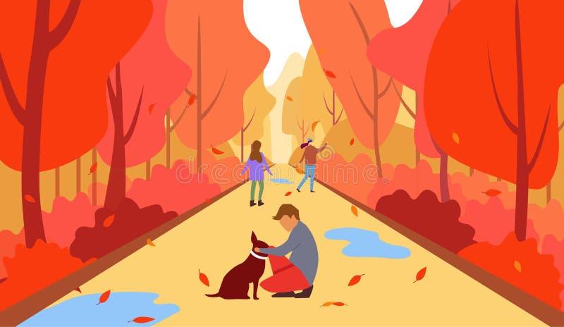 家庭在秋天,一幸福家庭的传染媒介例证在秋天在公园附近的步行 儿童和狗漫步 皇族释放例证